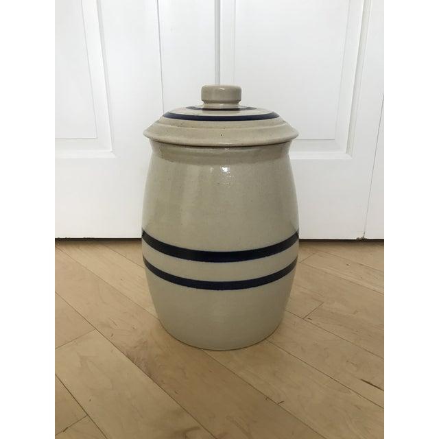 Ceramic Antique Stoneware Blue Crown Crock Drink Dispenser For Sale - Image 7 of 9