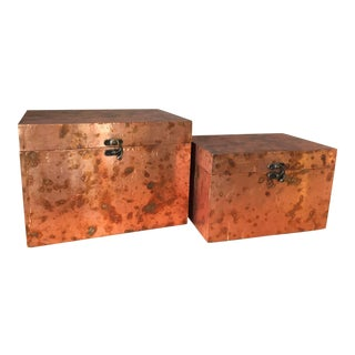 Contemporary Uttermost Ambrosia Copper Boxes - a Pair For Sale