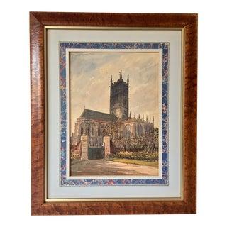 English Church Watercolor Painting by Axel Haig