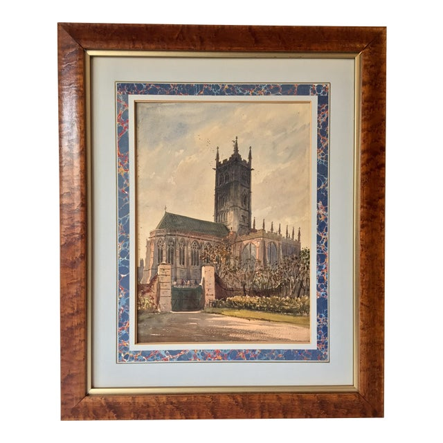 English Church Watercolor Painting by Axel Haig For Sale