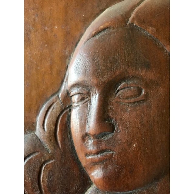 1930s Folk Art Relief Carving of a Woman For Sale - Image 5 of 9
