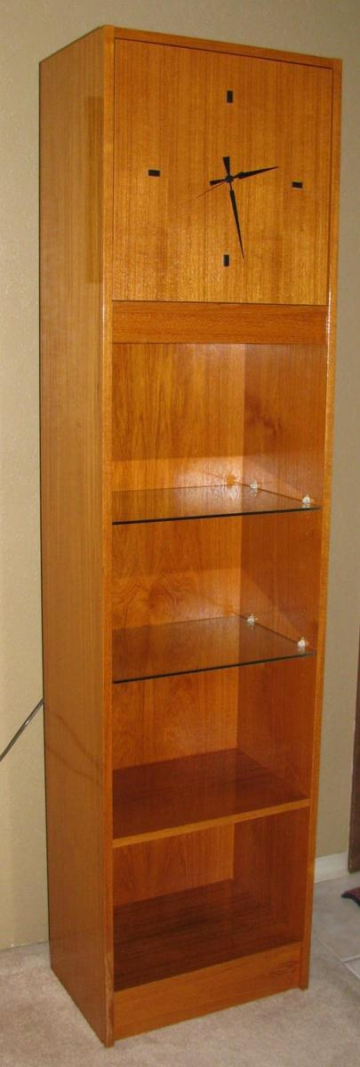 Delicieux Sleek Mid Century Modern Teak Floor Longcase Clock, With 4 Shelves (2 Glass