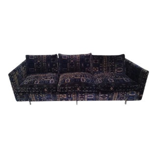 Milo Baughman Sofa With Original Jack Lenor Larsen Fabric For Sale