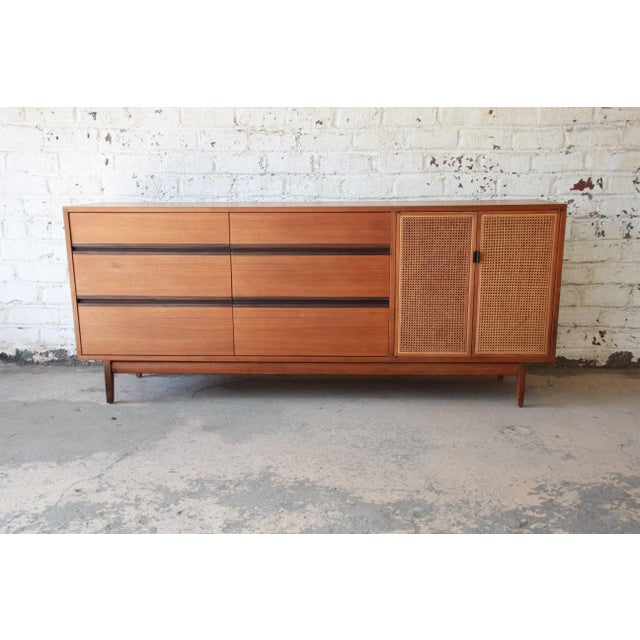 Kipp Stewart for Calvin Mid-Century Modern Walnut and Cane Dresser or Credenza For Sale - Image 13 of 13