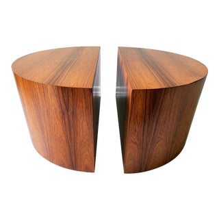 Mid Century Modern Rosewood Half Circle Drum Tables - a Pair For Sale