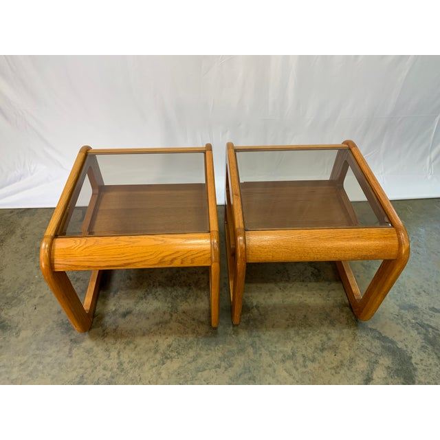 Mid-Century Modern 1970s Mid-Century Modern Lou Hodges Oak and Smoked Glass End Tables -- a Pair For Sale - Image 3 of 10
