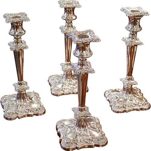 Early 20th Century Early 20th Century Rococo American Quadruple Silver Plated Candlesticks - Set of 4 For Sale - Image 5 of 5