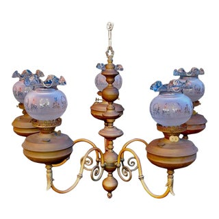 1970s Late 19th Century Brass Chandelier For Sale