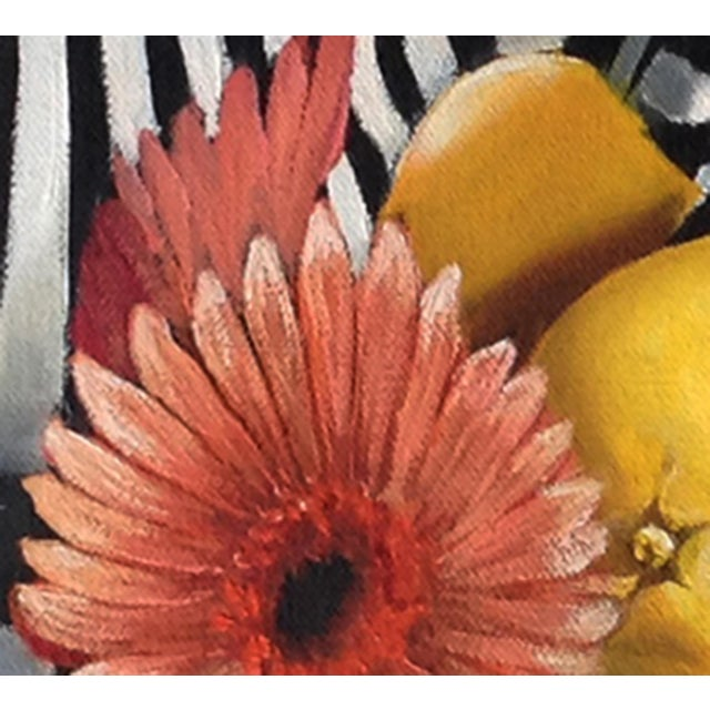 "Abstract Kathi Blinn ""Pinstripes and Posies"" Contemporary Still-Life Acrylic Painting For Sale - Image 3 of 4"