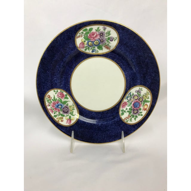 Cottage Vintage Crown Staffordshire Cobalt & White With Flowers Luncheon Plate Set - 12 Pc. For Sale - Image 3 of 7