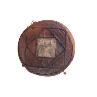 Zzz - Small Vintage Leather Pouf For Sale