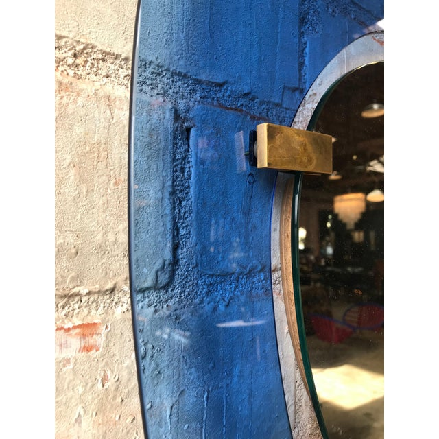 Modern Fontana Arte Rare Light Blue Sculptural Wall Mirror by Max Ingrand, Italy, 1958 For Sale - Image 3 of 10