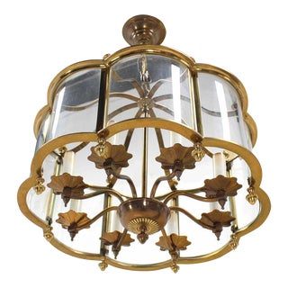 Mid Century Brass Chandelier with Curved Glass Shade For Sale