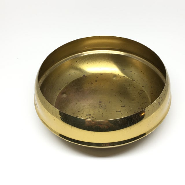 Mid-Century Modern Vintage Brass Footed Bowl/Planter For Sale - Image 3 of 8