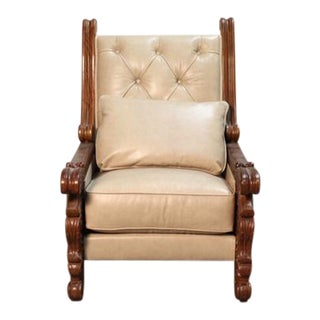 Hand Carved Colonial Arm Chair With Ivory Leather For Sale