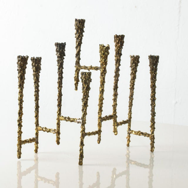Gold Midcentury Modern Brutalist Tiered Brass Candle Holder For Sale - Image 8 of 11