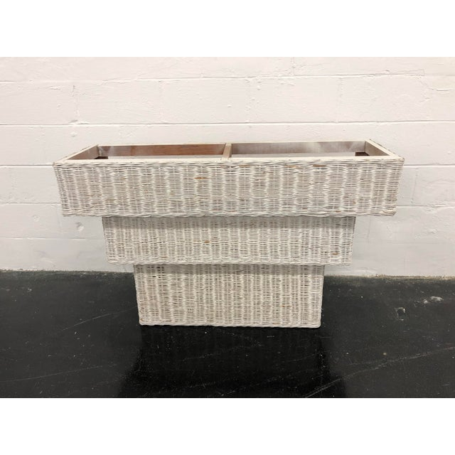 This vintage wicker basket woven console table would be a great addition to your beachy, boho chic, or eclectic decor....