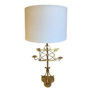 Mid-Century Modern Gilt Iron Pricket Stand Mounted as Lamp For Sale
