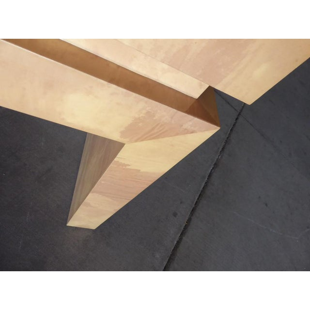 A Chic Art Deco Inspired Faux-Goatskin Console Table For Sale - Image 10 of 12