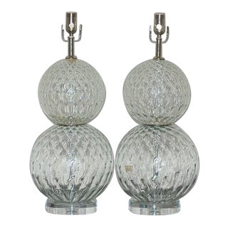 Murano Stacked Ball Lamps in Clear For Sale