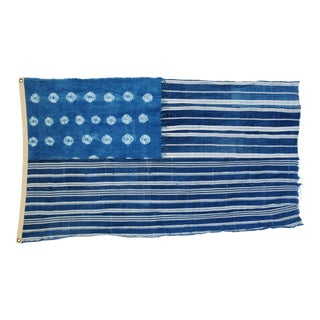 "Boho Chic Indigo Blue & White Flag From African Textiles 60"" X 35"" For Sale"