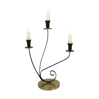 1950's Mid-Century Curved Metal Candelabra For Sale