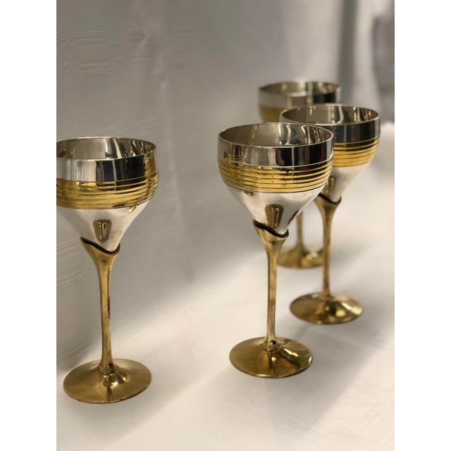 Mid-Century Modern Set of Four Chrome and Brass Goblets For Sale - Image 3 of 7