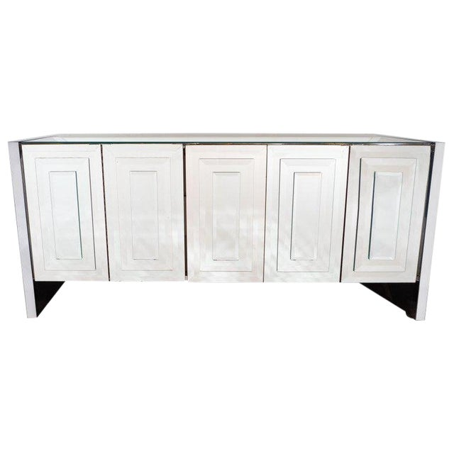 Mid-Century Modern Mirrored and Chrome Sideboard by Ello For Sale