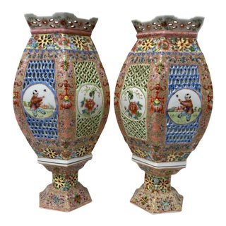 Late 19th Century Antique Famille Rose Candle Lanterns - a Pair For Sale