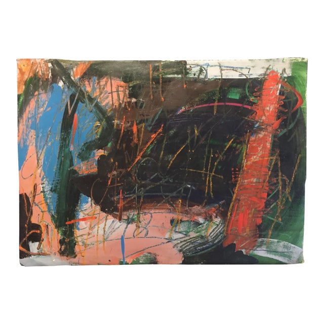 1970s Berkeley Artist Vannie Keightly Mixed Media Abstract Painting - Image 1 of 8