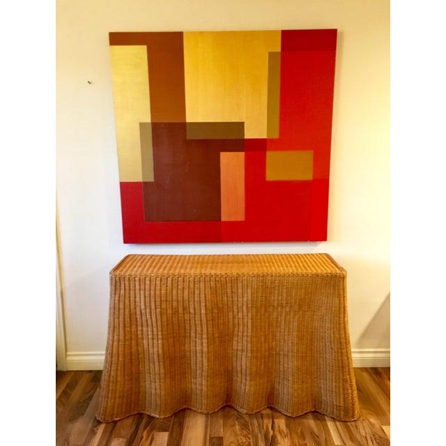 Copper 1970s Boho Chic Wrapped Rattan Wicker Tromp L'Oeil Console Sofa Table For Sale - Image 8 of 8