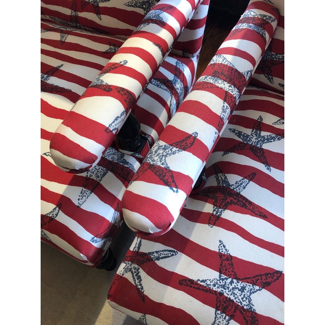 Red White and Blue Upholstered Club Chairs- a Pair For Sale In Philadelphia - Image 6 of 13