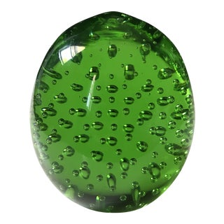 Green Controlled Bubble Murano Glass Orb For Sale