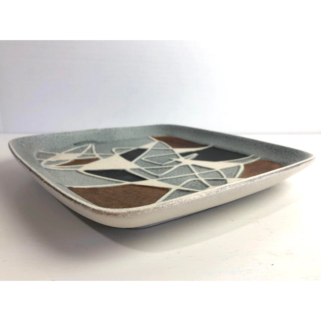 Abstract 1960's Bodo Mans for Bay Art Pottery Plate West Germany For Sale - Image 3 of 7