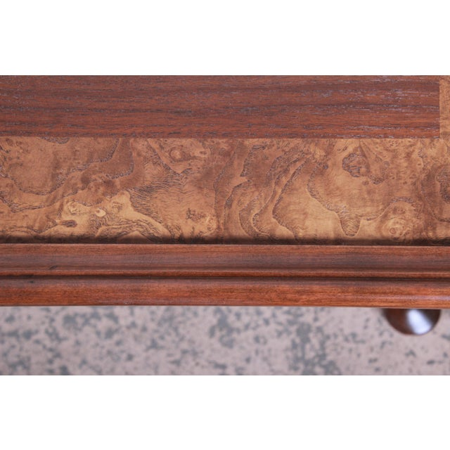 Wood Baker Furniture Queen Anne Walnut and Burl Wood Large Square Coffee Table, Newly Refinished For Sale - Image 7 of 11