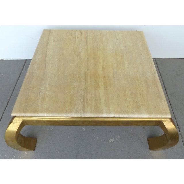 Mid-Century Modern Brass & Travertine Coffee Table - Image 4 of 9