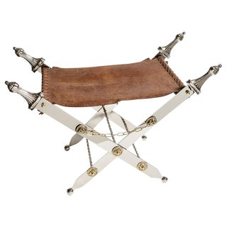Campaign Steel & Brass Sword Folding Stool With Leather Seat For Sale