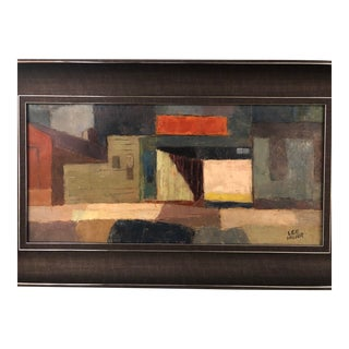 1950s Signed Original Mid-Century Modern Abstract Painting For Sale