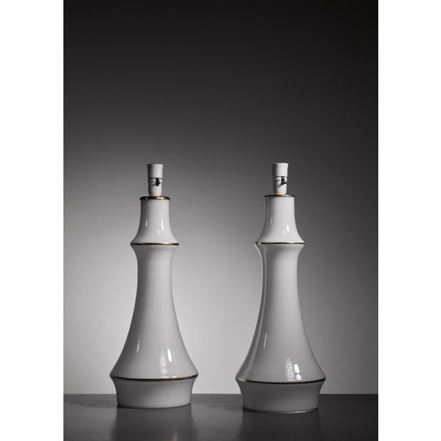 Lisa Johansson-Pape pair of white table lamps for Orno, Finland, 1950s - Image 2 of 3