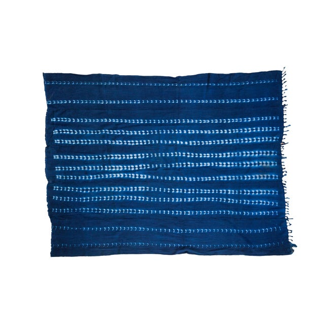 Vintage Hand Woven Batik Blue Throw - Image 1 of 5