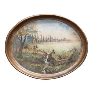 Circa 1767 Early American Hand Painted Toleware Tray For Sale