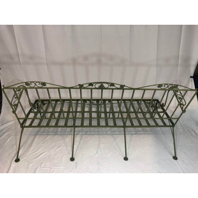 Woodard Furniture Co. Vintage Woodard Style Wrought Iron Sofa For Sale - Image 4 of 12