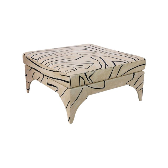 Contemporary Grafitto Print Upholstered Cocktail Table For Sale - Image 4 of 5