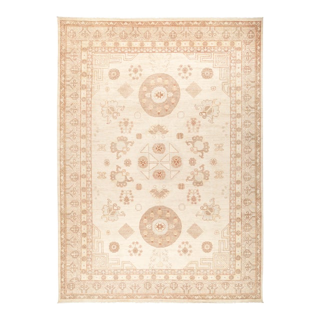"""Khotan Hand Knotted Area Rug - 9' 10"""" X 13' 9"""" For Sale"""