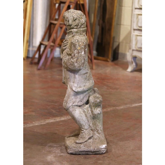 Figurative 19th Century French Outdoor Carved Weathered Stone Young Man Statue For Sale - Image 3 of 7