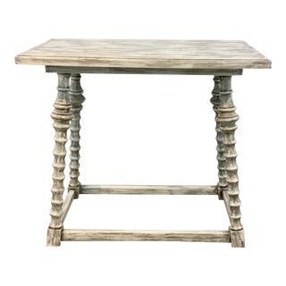 Modern Distressed White Wash Painted Wood End Table For Sale