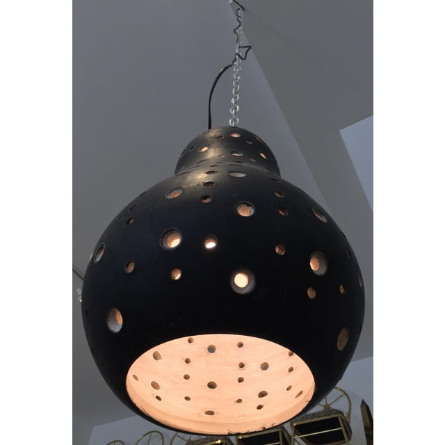 1950's Vintage Perforated Ceramic Pendant Light For Sale - Image 4 of 11