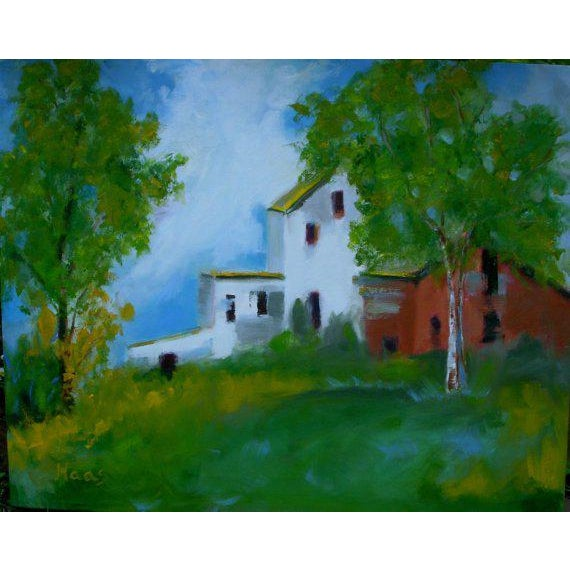 """Shabby Chic """"Country Farm"""" Oil Painting Comes Framed For Sale - Image 3 of 12"""