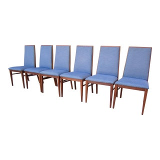 1970s Vintage Milo Baughman Dillingham Walnut Danish Modern Style Dining Chairs- Set of 6 For Sale