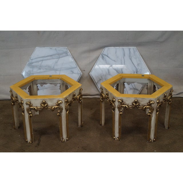 Hollywood Regency Partial Gilt Side Tables - Pair - Image 9 of 10